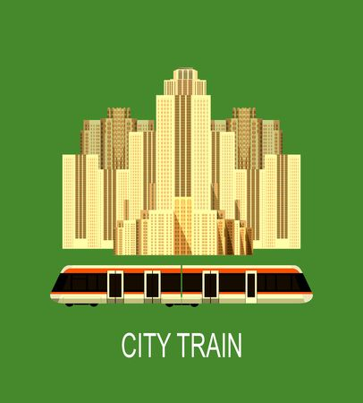 sky scrapers: Vector illustration of an urban high-rise buildings near the train big city