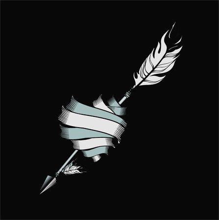 pierce: vector illustration heart of the tapes rolled pierce arrow Illustration