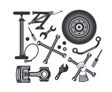 vector set di strumenti e pezzi di ricambio della vettura su uno sfondo bianco