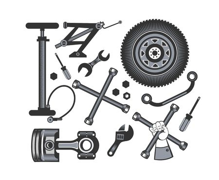 spare parts: vector set of tools and spare parts of the car on a white background Illustration