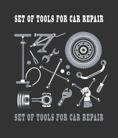 spare parts: vector set of tools and spare parts of the car on a black background