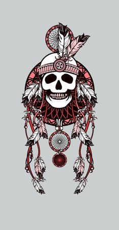 chieftain: vector illustration Indian totem skull headdress with feathers
