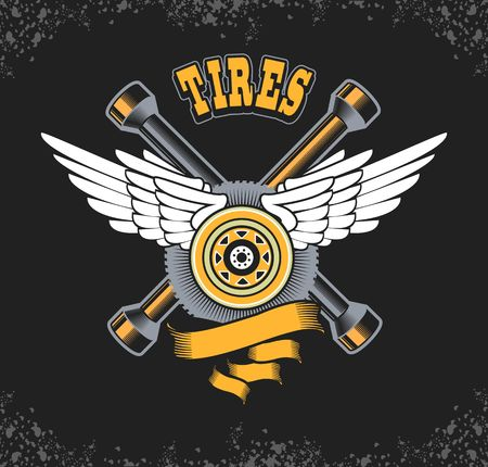 screw key: vector illustration emblem tire in retro style