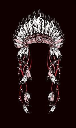 indian headdress: vector illustration American Indian headdress with feathers and ribbons