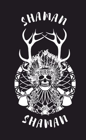 chieftain: vector illustration of an Indian shaman totem skull in a headdress of feathers Illustration
