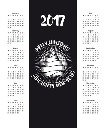 red ribbon week: Vector calendar for 2017, on a black background Christmas Tree