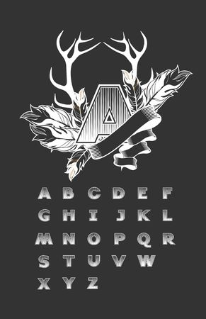 capitalized: vector set of alphabet letters squared, on a black background capitalized the first letter is decorated with feathers and ribbon Illustration