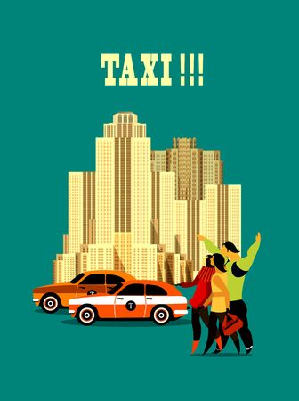 stopped: Vector illustration of urban taxi on city background several people stopped the taxi