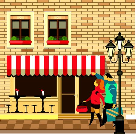 vintage cafe: vector illustration of a small cafe in the streets of Visitors Illustration