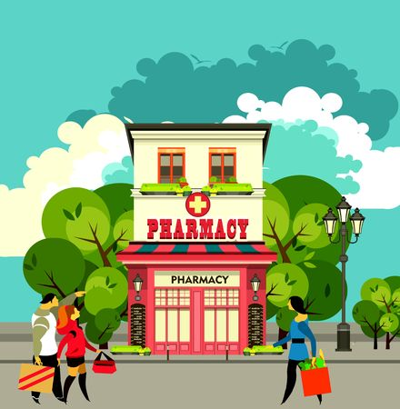 vector illustration city street pharmacy building in a flat style