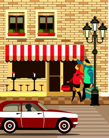 visitors: vector illustration of a small cafe in the streets of Visitors Illustration