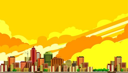 shop floor: vector illustration big city panoramic view on a white background Illustration