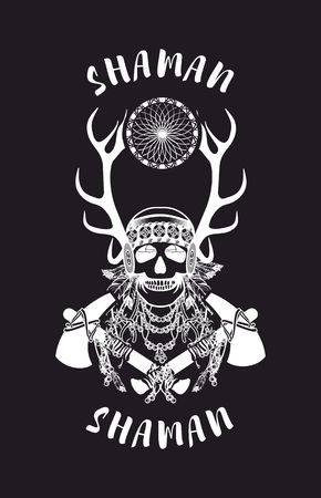 cherokee: vector illustration of an Indian shaman totem skull in a headdress of feathers Illustration