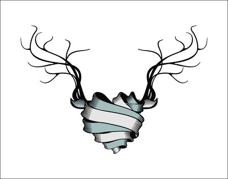 indian tribe: vector illustration heart rolled ribbons decorated with antlers and feathers