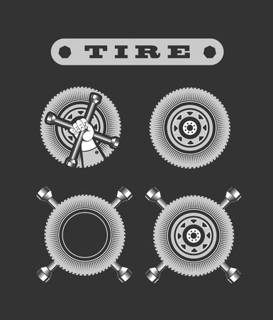 tire cover: vector illustration set of various types of tires on a black background Illustration