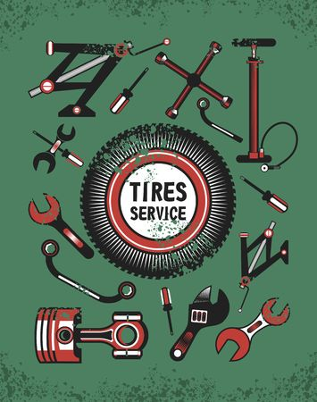 car tire: vector set of tools and spare parts of the car the name of the workshop in the center of the tire