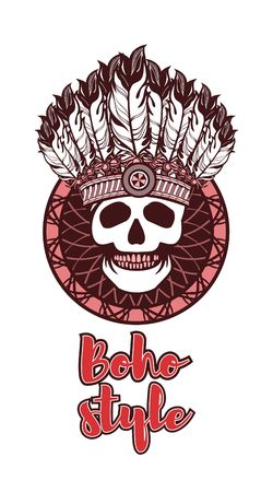 shaman: Vector illustration ethnic style. Dreamcatcher and shaman skull decorated with feathers and beads arrows with ribbons Illustration