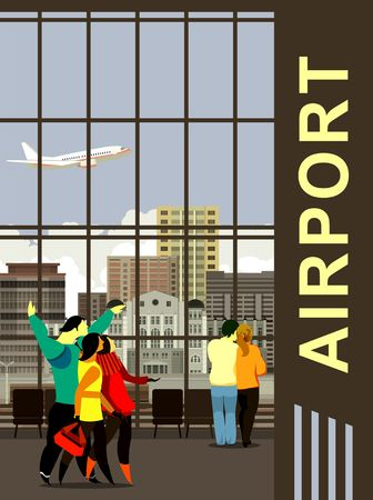 depart: vector illustration in the airport waiting room, passengers expect your flight