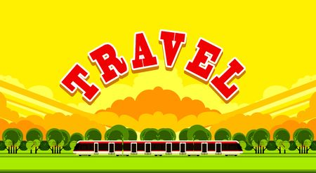 big letters: vector illustration of a passenger train outdoors in the sky among the clouds in big letters written travel Illustration