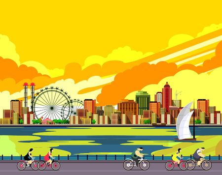 promenade: vector illustration promenade ride a bike people on the water sailing a sailboat in the distance a great city Illustration