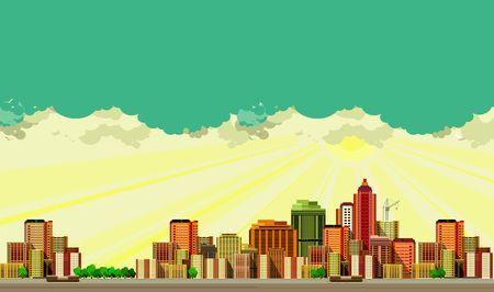 panoramic view: vector illustration big city panoramic view on a white background Illustration
