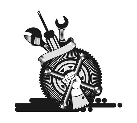 screw key: vector illustration for a repair shop, a human hand with a wrench on the background of the wheel