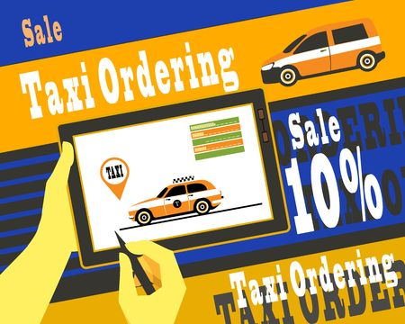 using tablet: vector illustration of human hands using a tablet aypad Internet call a taxi