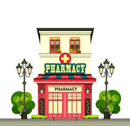 vitrine: vector illustration city street pharmacy building in a flat style