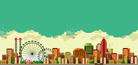 metropolis: vector illustration of a large metropolis panoramic view of the sky background Illustration