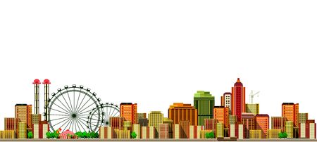 city background: vector illustration big city panoramic view on a white background Illustration