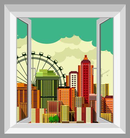 벡터 일러스트 레이 션의 열린 창에서 큰 도시의 보이는 파노라마