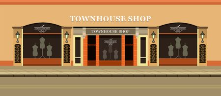 Vector illustration of urban street clothing store windows with mannequins