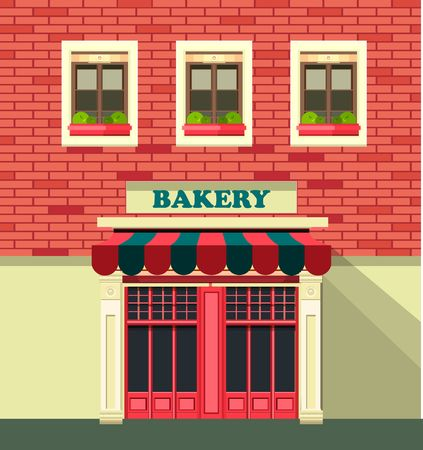vector illustration city street small shop bakery