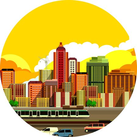 moving in: vector illustration fluorescent image of the city with high-rise buildings and moving vehicles, industrial part of the city in a circle