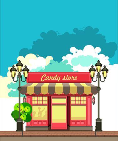 shopfront: vector illustration city street a small candy shop
