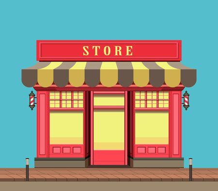 vector illustration city street a small  shop