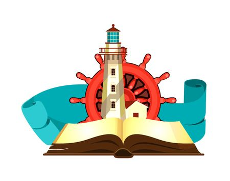 open sea: vector illustration marine emblem of an open book with sea stories Illustration