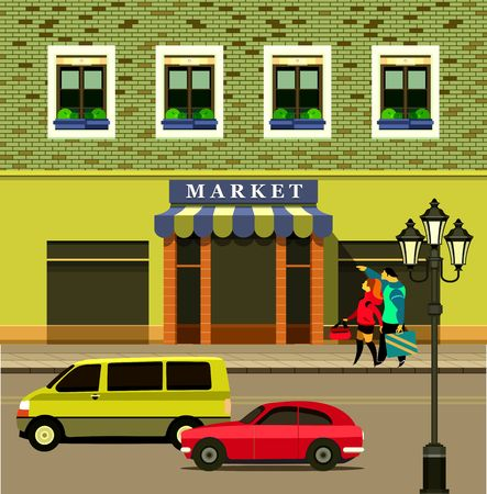 shopfront: vector illustration city street small shop trucks passing on the road are pedestrians