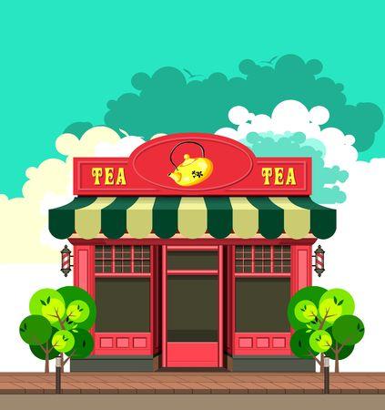 shopfront: vector illustration city street a small tea shop