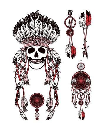 shaman: vector set of the epic Indian shaman skull boom a native religion Illustration