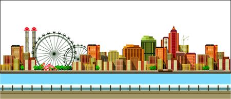 vector illustration promenade on the water sailing a sailboat in the distance a great city Vetores