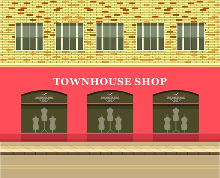 clothing store: Vector illustration of urban street clothing store windows with mannequins