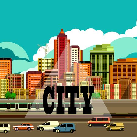 city scene: vector illustration fluorescent image of the city with high-rise buildings and moving vehicles, industrial part of the city