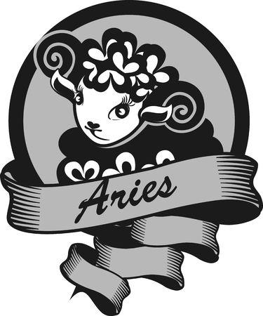 aries: Retrato de Aries signo del zodiaco para el hor�scopo y la predestinaci�n astrol�gica Vectores