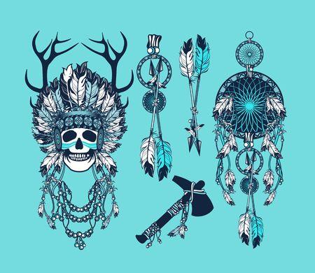 cherokee: vector set of the epic Indian shaman skull boom a native religion Illustration