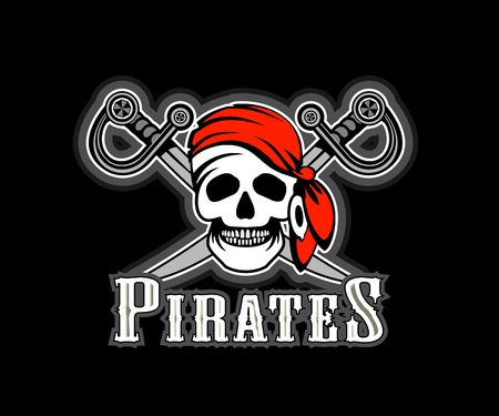 cheerp Pirate in red bandana, pirate symbol of a skull and crossed swords