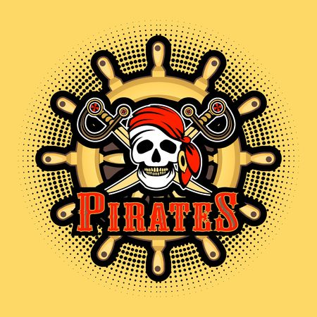jolly roger: Sea pirate skull bandana on the background of the wheel, Jolly Roger on a white background