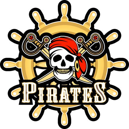 Sea pirate skull bandana on the background of the wheel, Jolly Roger on a white background