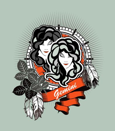 gemini girl: astrological sign of the zodiac Gemini two girls in a circular shape in black and white Illustration