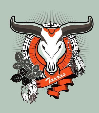 bull pen: illustration Taurus emblem vintage frame with feathers